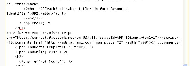 Memasukkan kode comment facebook di wordpress