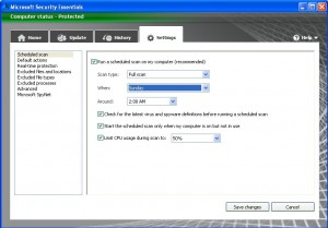 cara setting antivirus microsoft essentials