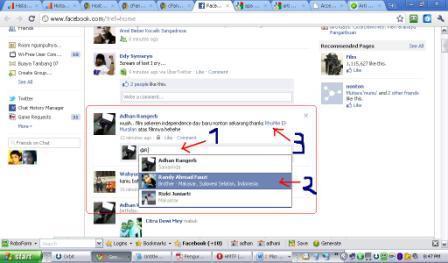 cara mention facebook