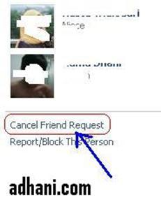 membatalkan permintaan menjadi teman di facebook