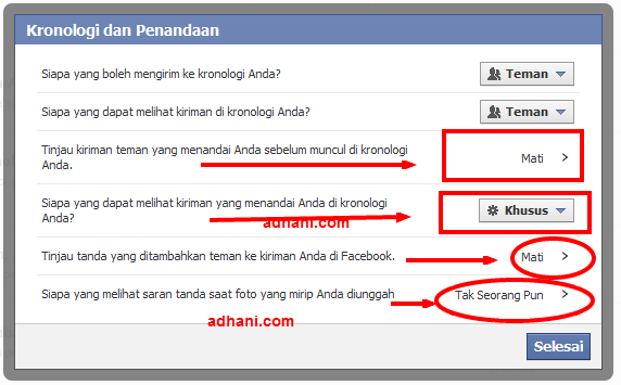 atur privasi tag facebook