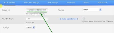 setting widget googleplus