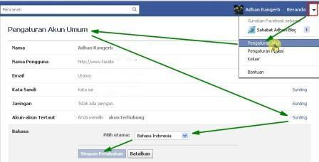 mengganti bahasa facebook