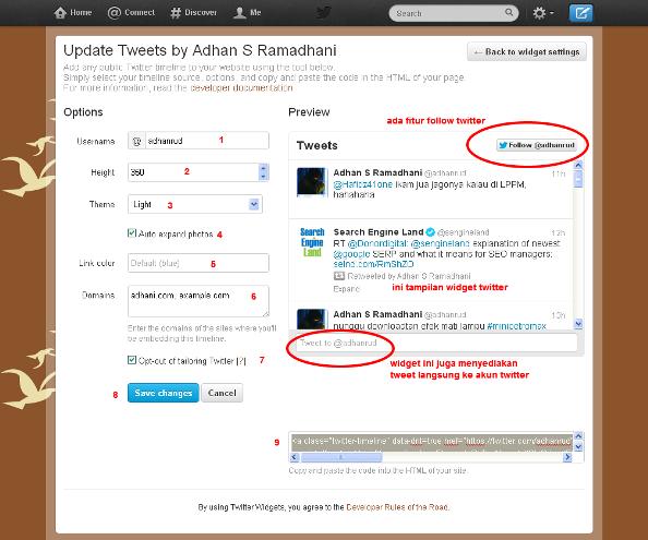 setting widget twitter