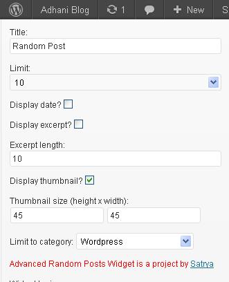 cara memasang random post di sidebar