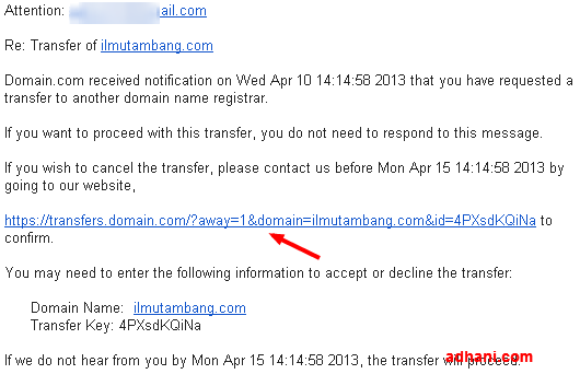 Transfer Away request has been received for the domain ilmutambang.com   adhanlck gmail.com   Gmail