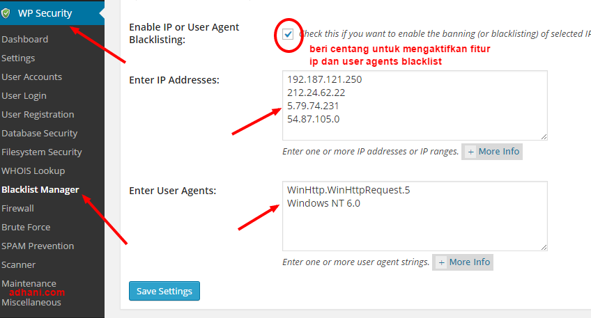 ip blacklist manager di plugin all in one wp security