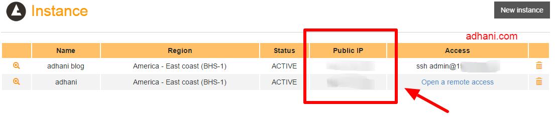 Status instance RunAbove sudah aktif