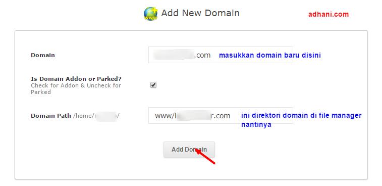 Menambahkan domain baru di webuzo