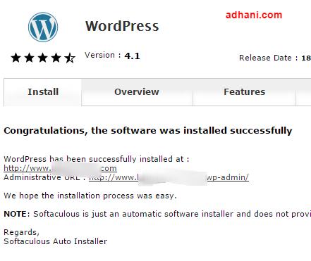wordpress berhasil diinstall di webuzo