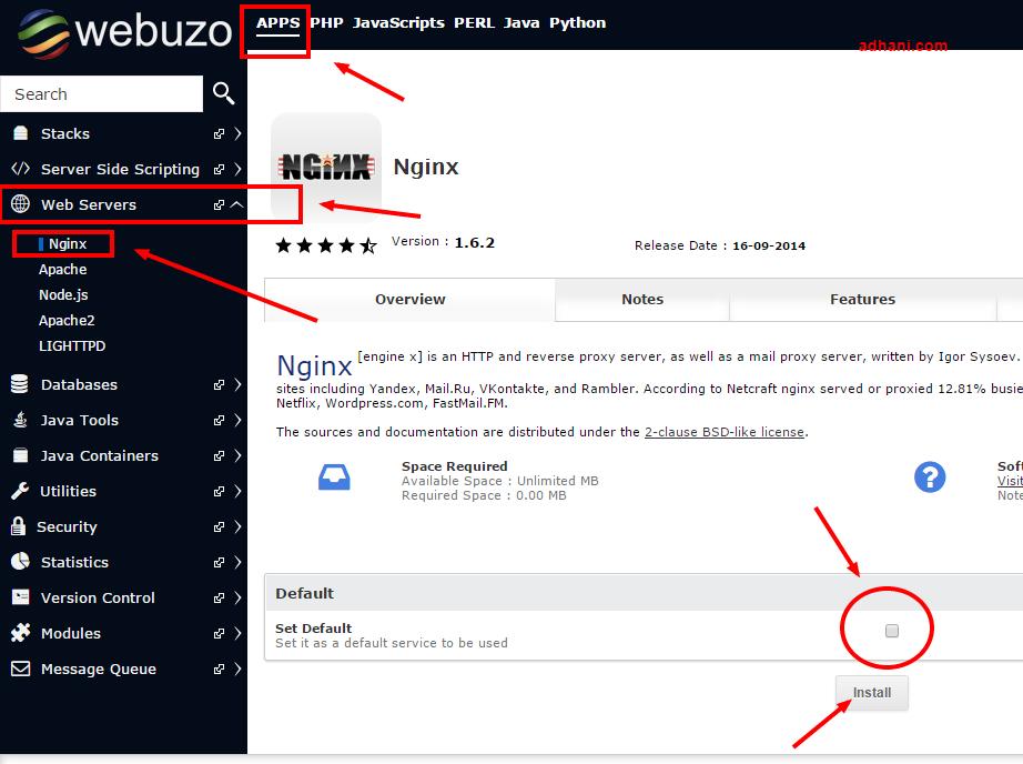 Cara Install nginx di Webuzo