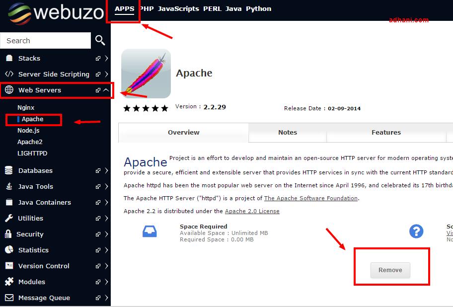 remove apache di webuzo